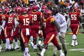 Coach Willie Slater believes his defensive line, including Kali James, will be one of his team's strengths this year. (Tuskegee University Athletics)