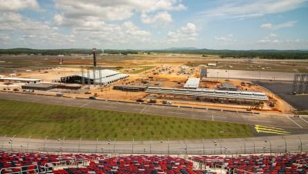 The construction of the new Talladega Garage Experience is on schedule. (Dennis Washington / Alabama NewsCenter)