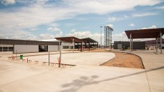 Construction continues on the new Talladega Garage Experience. (Dennis Washington / Alabama NewsCenter)