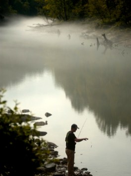 A man from Jasper, Walker County, fishing on Smith Lake near Bug Tussle, Cullman County, in August 2006. (From Encyclopedia of Alabama, courtesy of The Birmingham News)