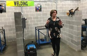 Terry Saban represented Nick's Kids Foundation in joining other officials to cut the ribbon on the new training facility at the Tuscaloosa County Juvenile Detention Facility. (Michael Tomberlin / Alabama NewsCenter)