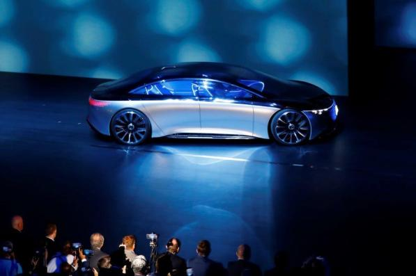 A Mercedes-Benz Vision EQS automobile at the IAA Frankfurt Motor Show on Sept. 10. (Alex Kraus/Bloomberg)