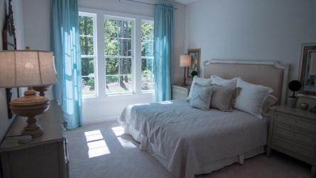 The master bedroom of the model home. (Dennis Washington / Alabama NewsCenter)