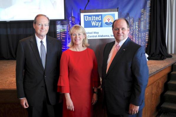 At the fall campaign kickoff were, from left, Jeff Stone, campaign chair; Jill Deer, Pacesetter chair; and Drew Langloh, president and CEO of the United Way of Central Alabama. (Karim Shamsi-Basha / Alabama NewsCenter)