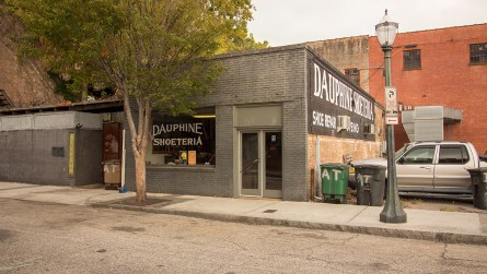 Dauphine Shoeteria is located on Conti Street in downtown Mobile. (Dennis Washington / Alabama NewsCenter)