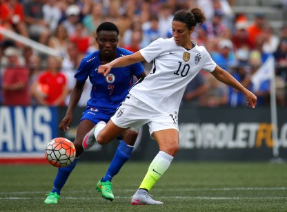 Carli Lloyd #10 of the United States of America controls the ball against Roselord Borgella #7 of Haiti during the US Women's 2015 World Cup victory tour match at Legion Field on September 20, 2015 in Birmingham, Alabama. (Photo by Kevin C. Cox/Getty Images)