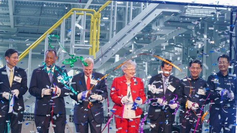 Gov. Kay Ivey joins Hyundai officials and community leaders for the grand opening of the automaker's $388 million engine facility in Montgomery in May. (contributed)