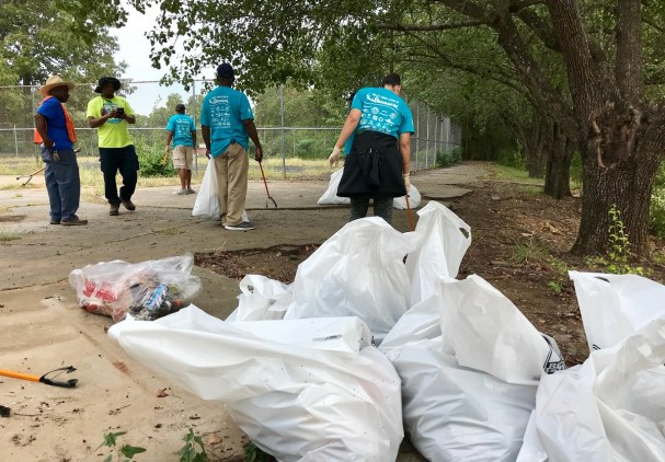 Volunteers filled many bags with trash at five sites along Valley Creek. (Michael Sznajderman/Alabama NewsCenter)