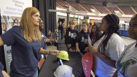 Students talk with a representative from Alabama Power about possible career opportunities. (Dennis Washington / Alabama NewsCenter)