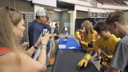 Students participate in a fun demonstration provided by Alabama Power. (Dennis Washington / Alabama NewsCenter)