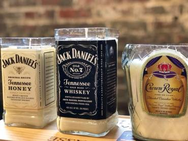 Crave Candles Co. recycles and repurposes wine and spirit bottles into candle vessels. (contributed)
