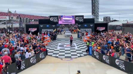 Spencer Boyd drives his truck into the new victory lane at Talladega Superspeedway. (Dennis Washington / Alabama NewsCenter)