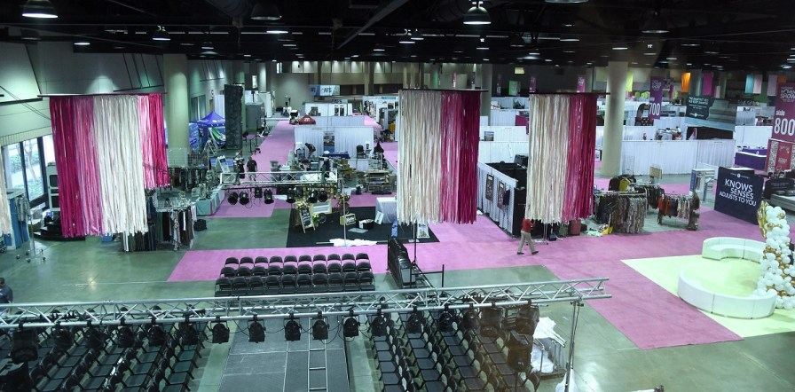 Preparations underway for an event in the North Exhibition Hall at the BJCC. (Mark Almond/The Birmingham Times)