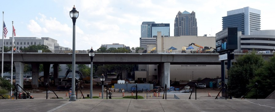 The downtown skyline and I-20/59 construction as seen from outside the Birmingham-Jefferson Convention Complex. (Mark Almond/The Birmingham Times)