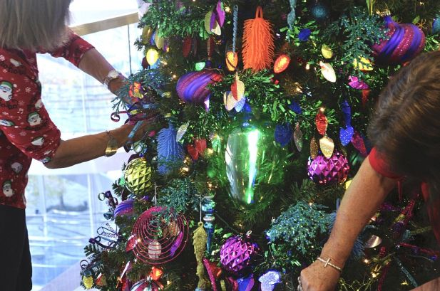 Trees were adorned with vibrant, sparkling ornaments to catch children and adults' interest. (Karim Shamsi-Basha/Alabama NewsCenter)