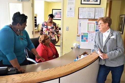 Sherry Webb, left, greets visitors at First Light Women's Shelter in downtown Birmingham. (Dury Shamsi-Basha / Alabama NewsCenter)