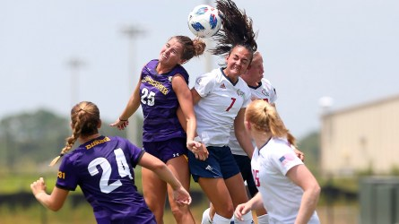 University of South Alabama soccer coaches knew when they recruited Athanasia Moraitou that they would have to share her with the Hellenic Women's National Team, but they said her contributions to USA soccer have made it worthwhile. (Scott Donaldson/USA Athletics)