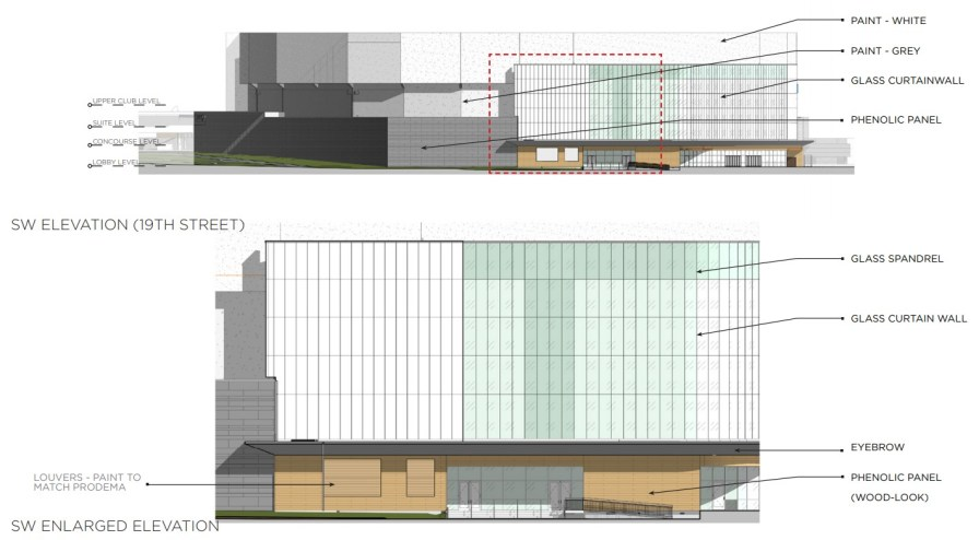 Elevations show details of the $123 million renovations planned at the BJCC's Legacy Arena. (BJCC)