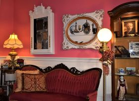 Guests can relax on velvet settees. (Donna Cope/Alabama NewsCenter)