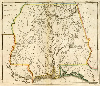 A map of the Mississippi Territory published ca. 1813 by Mathew Carey. The right half of the map is the present-day state of Alabama. (From Encyclopedia of Alabama, courtesy of W.S. Hoole Special Collections Library, The University of Alabama Libraries)
