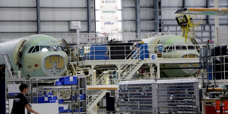 Airbus in Mobile is producing A320 aircraft at a rate of almost six per month. A planned expansion will boost that number to seven per month by the beginning of 2021. (Airbus)