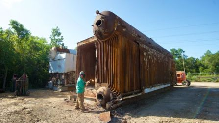 An old Alabama Power boiler in 2016, before being transported to the Gulf of Mexico and submerged to create an artificial reef. (file)