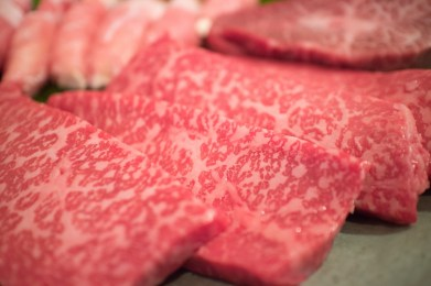 Freshly cut slices of wagyu beef thigh. (contributed)