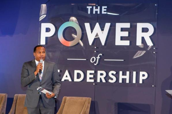 Birmingham native and comedian Roy Wood Jr. moderated the panel at the Power of Leadership event. (Nik Layman / Alabama NewsCenter)