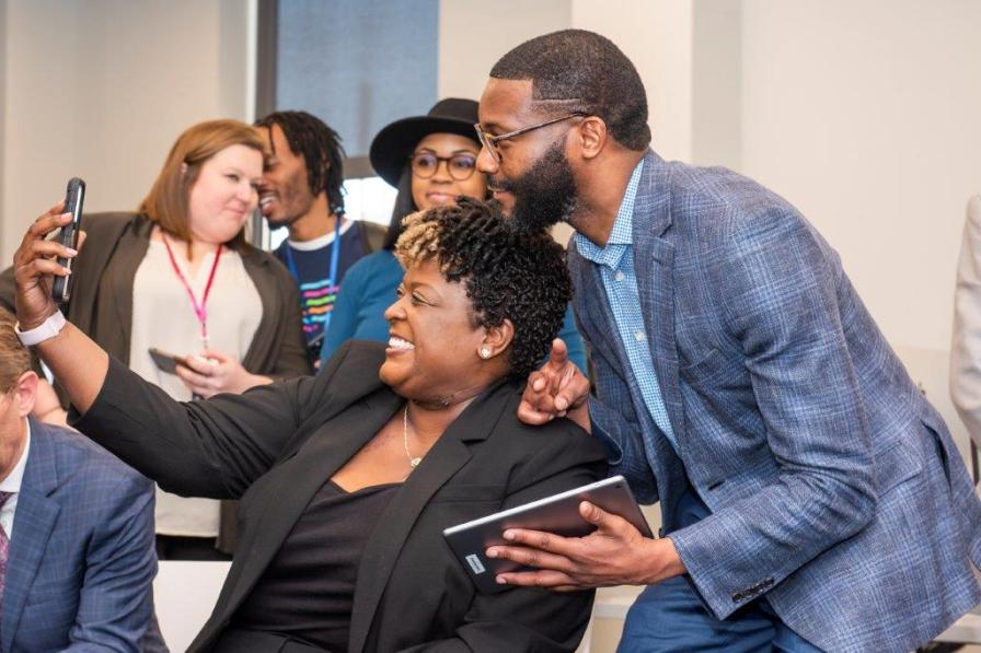Birmingham City Schools Superintendent Lisa Herring and Birmingham Mayor Randall Woodfin take a selfie at the announcement of the Ed Farm initiative on Feb. 27, 2020. (Nik Layman / Alabama NewsCenter)