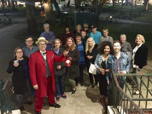 Todd Duren with one of his Secret History Tour groups. Mobile has plenty of stories to tell, and even longtime locals learn things they never knew. (Secret History Tours)