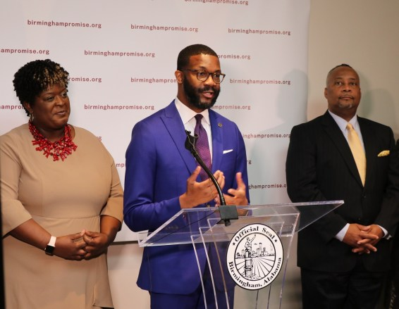 Birmingham Mayor Randall Woodfin speaks at the announcement of contributors to Birmingham Promise. (contributed)