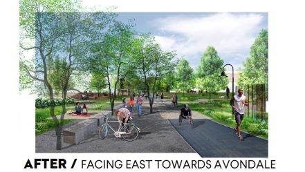 A rendering shows the concept for the Jones Valley Trail extension toward Avondale. (Freshwater Land Trust)