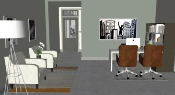 A rendering shows an office in the American Life building from the building's entrance. (Hendon and Huckestein Architects)