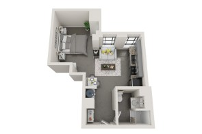 Conceptual floor plans show an Avondale apartment in the American Life building. (Hendon and Huckestein Architects)