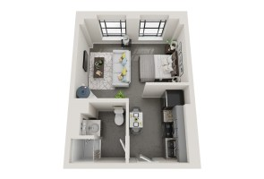 Conceptual floor plans show a Glen Iris apartment in the American Life building. (Hendon and Huckestein Architects)