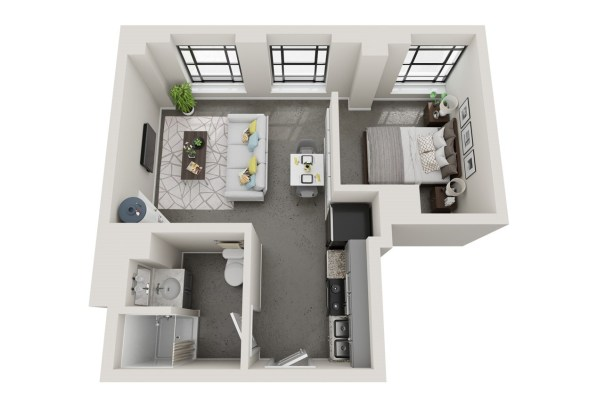 Conceptual floor plans show a Highland apartment in the American Life building. (Hendon and Huckestein Architects)