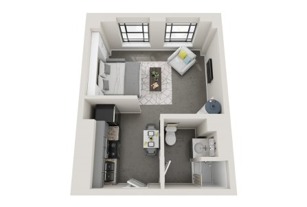 Conceptual floor plans show an Oxmoor apartment in the American Life building. (Hendon and Huckestein Architects)