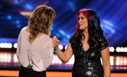 """Jessica Meuse, right, from Slapout, Alabama, finished fourth on the 13th season of """"American Idol."""" (Getty Images)"""