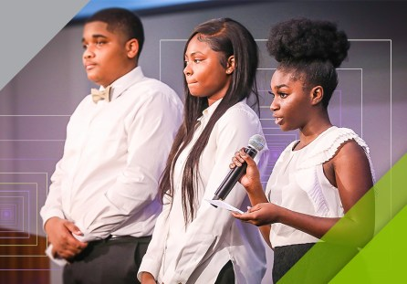 Students take part in the Persuasive Points of View discussion organized by the Birmingham Education Foundation and Regions Bank. The students took positions on issues important to their generation, from college admission priorities to school cellphone policies. (Regions Doing More Today)