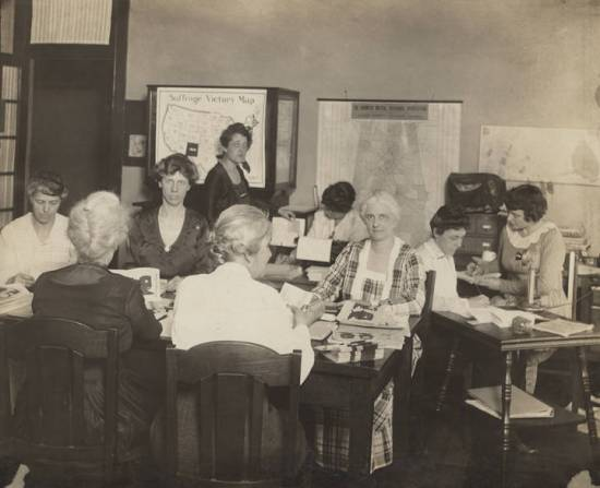 "Women working at the state headquarters of the Alabama Equal Suffrage Association in downtown Birmingham, during the ""Birmingham Ratification Campaign."" (Alabama Department of Archives and History)"