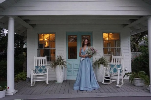 """Julia Larriviere was supposed to be at her senior prom, but the COVID-19 pandemic changed everything. Instead, her whole family dressed up, had a nice dinner and posed for photos at home. """"I felt like it was a natural thing to do,"""" said her mom. (Photos courtesy of Nicole Larriviere)"""