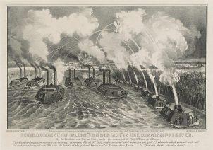 """Bombardment of Island """"Number Ten"""" in the Mississippi River, 1862. (Library of Congress, Prints and Photographs Division)"""