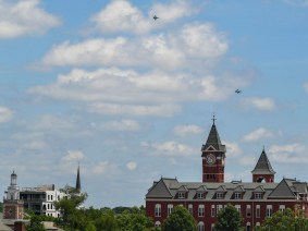 The Alabama National Guard's 187th Fighter Squadron conducted a flyby thanking first responders for their service in Auburn. (Todd Van Emst/AU Athletics)