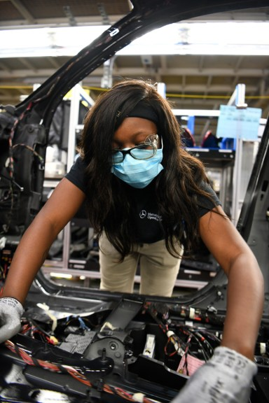 Mercedes-Benz U.S. International, like other automotive companies in the state, has implemented new procedures and protective equipment as it resumes production during the COVID-19 pandemic. (MBUSI)