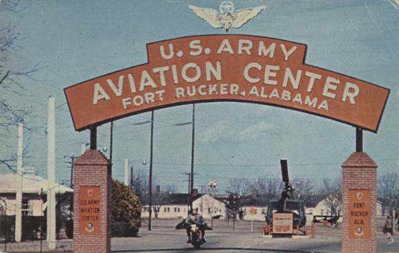 Entrance to the Army Aviation Center at Fort Rucker, 1960-1969. (Image courtesy of Alabama Department of Archives and History)