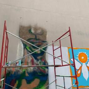 More than a dozen artists are participating in the collaborative mural project in at Second Avenue North and 19th Street in downtown Birmingham. (contributed)