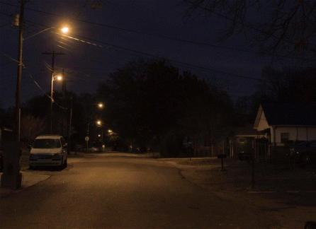 A Birmingham street is pictured before Alabama Power replaced old streetlights with LED lighting. The company is about to begin a similar project in Mobile. (Chris Jones/Alabama NewsCenter)