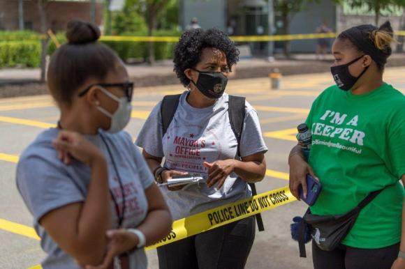 The Birmingham Department of Transportation, the BHM Artist Collective, Black Lives Matter Birmingham and community volunteers came together to complete the BLACK LIVES MATTER street mural in less than two days. (Phil Free / Alabama NewsCenter)