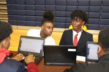Greene County students work on computers at school before COVID-19 forced the shift to home learning. Many students didn't have home internet access, but a grant from the Alabama Power Foundation supplied Chrome books and hot spots the students will be able to use at home. (contributed)