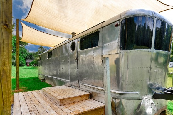 """The Spartan """"Glamper"""" is a 1949 camper built out of World War II airplane parts. (Courtesy of Whitney Dean)"""